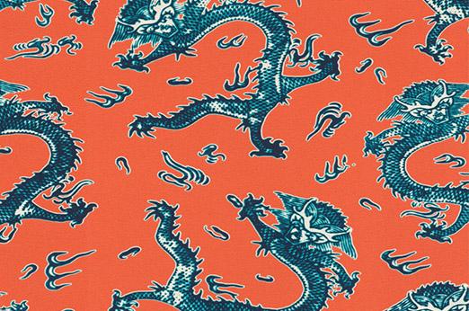 Tapete Asian Dragon orange
