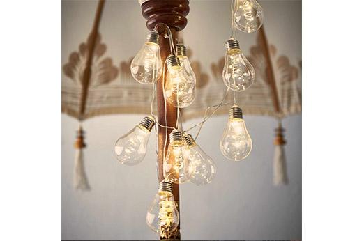 BUTLERS BULB Glühbirnenkette 10 Lichter transparent weiß
