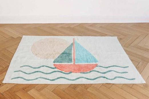 Kinderteppich Segelboot creme
