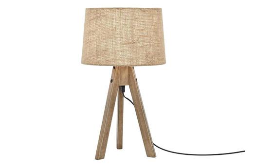 Tischleuchte, 1-flammig, Holzfuß beige
