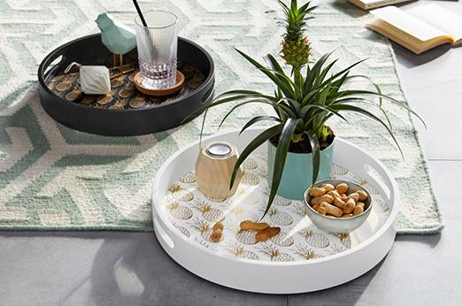 Tablett Ananas rund 2er-Set weiß