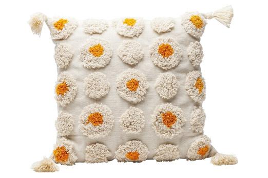 Kissen Daisys creme gelb 45x45