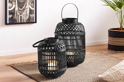 Laterne Black Boho aus Bambus schwarz
