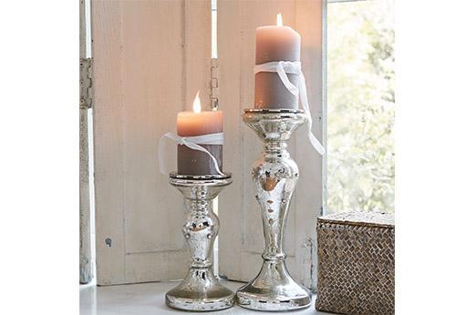 Loberon Kerzenständer 2er Set Pauline silberfarben