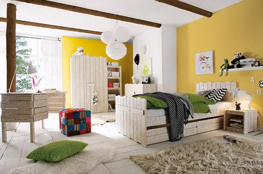Schlafzimmer Set aus Pinie massiv Safari weiß