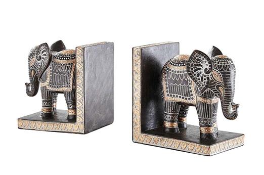 Buchstütze, 2er-Set Elefant braun