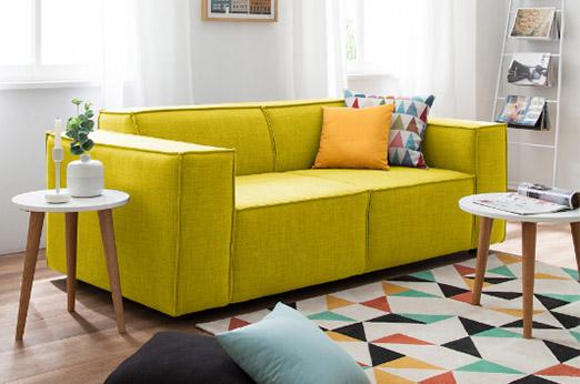 Sofa Kinx (2-Sitzer) Webstoff gelb grün