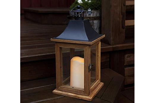 LED Laterne Holz 35 cm x 18 cm braun