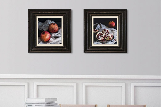 Holzbild Granatäpfel I bunt rot