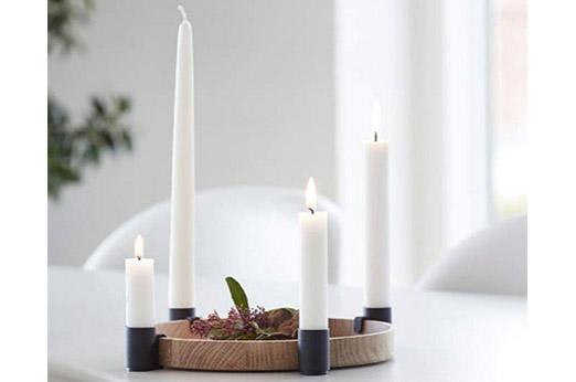Applicata Tablett mit Kerzenhalter Luna Eiche Schwarz