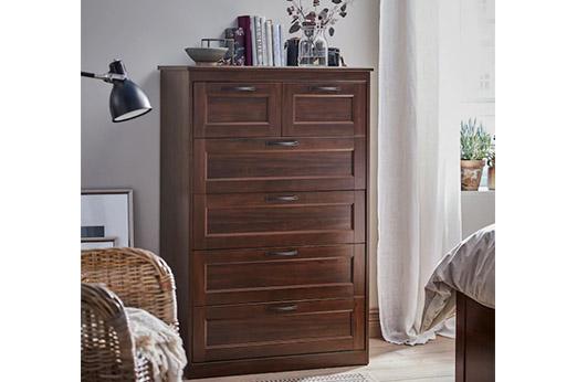 SONGESAND Kommode mit 6 Schubladen, braun, 82×126 cm