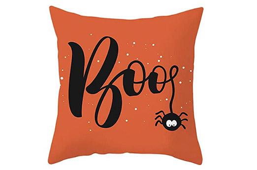 "Halloween Kissenbezug ""BOO"" 45cm x 45cm orange schwarz"