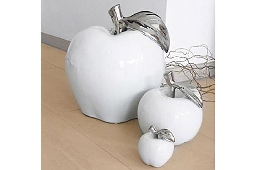 Keramik Deko-Apfel L 9 x B 9 x H 10 cm Platin/Weiss