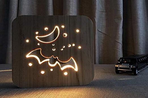 Holz LED Lampe Fledermaus USB Power