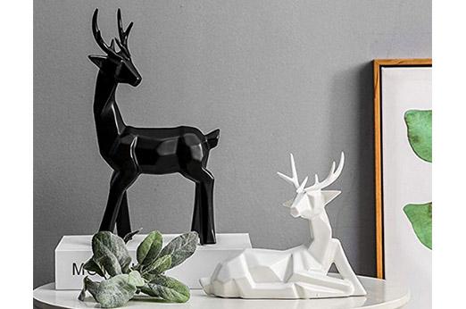 Dekofiguren Hirsche im Origami-Design Porzellan 2-er Set weiß schwarz