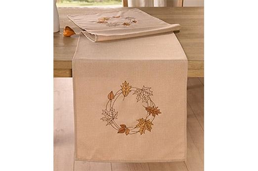 """Tischläufer """"Herbst Blätter"""" creme, beige"""