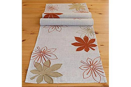 """Tischläufer 40 x 140 cm beige Stickerei """"Herbst  Blätter"""" braun terracotta"""