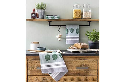 Geschirrhandtücher 4er Set aus 100% Baumwolle Blätter – Grün