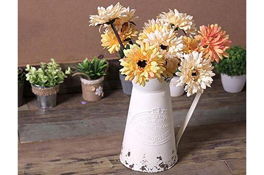 Krug Vase Shabby Chic-Stil Metall weiß