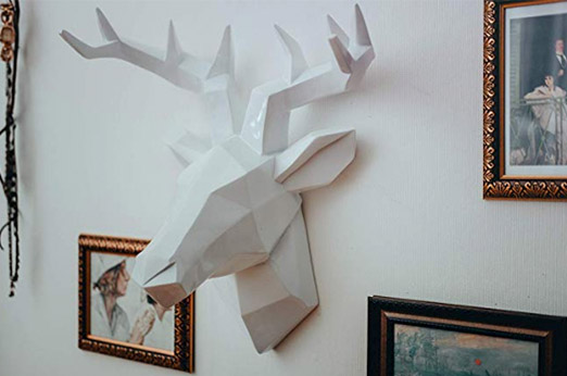 Hirsch Wandskulptur Weiß - 42 x 41 cm