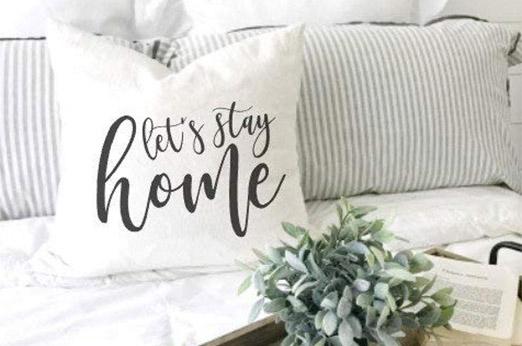 """Lets Stay Home"" Kissen Farmhouse weiß"