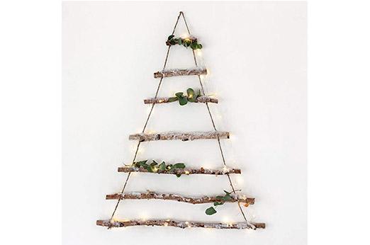 Birkenzweig Baum Holz Wanddeko mit Kunstschnee