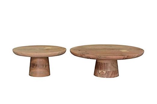 Dekoteller Adventskranz Tortenständer Holz Braun 25x25x12 cm