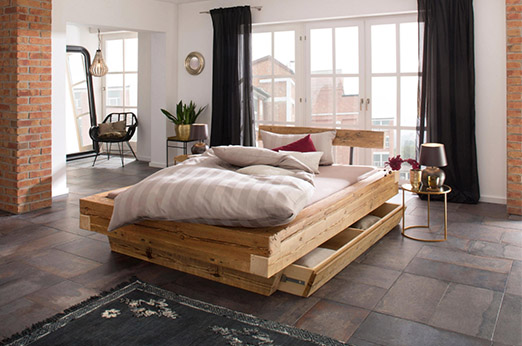Home affaire Bett »Kaya«, aus recyceltem antiken Holz in 3 Größen