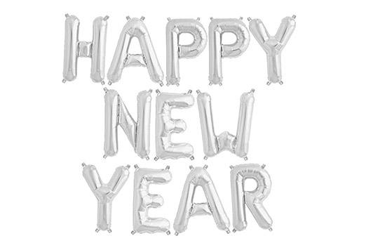 Luftballon Happy New Year -Schriftzug in Silber