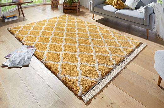 Hochflor-Teppich Pearl mit Fransen gelb 80 cm x 150 cm x 35 mm