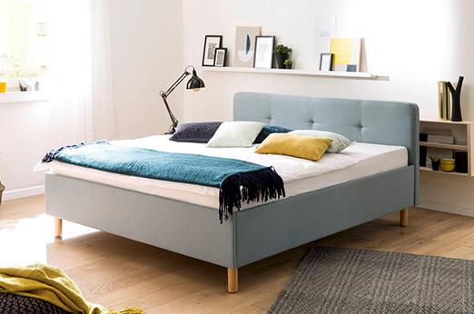 meise.möbel Polsterbett, mit diversen Bettfußvarianten blau