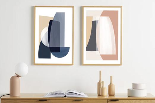 2 x Columba Kunstdrucke (A2), Holz, Hellrosa und Blau