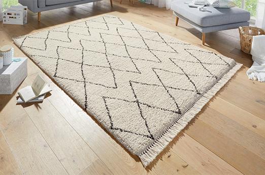 Hochflor-Teppich Jade mit Fransen natur 80 cm x 150 cm x 35 mm