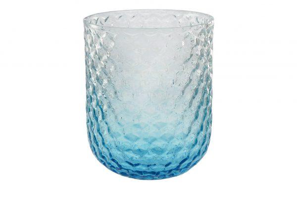Windlicht blau  Glas Maße (cm): H: 15,5 Ø: 12.5