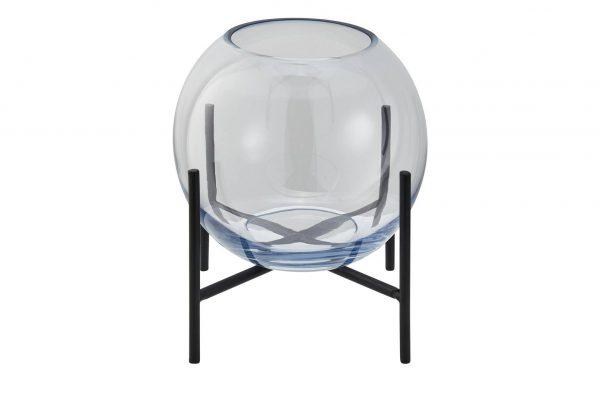 Vase  blau Glas , Metall Maße (cm): H: 16 Ø: 17