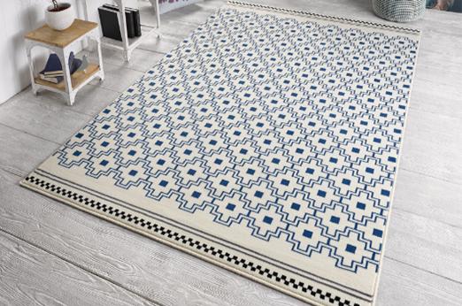 Teppich Cubic Webstoff - Creme / Blau