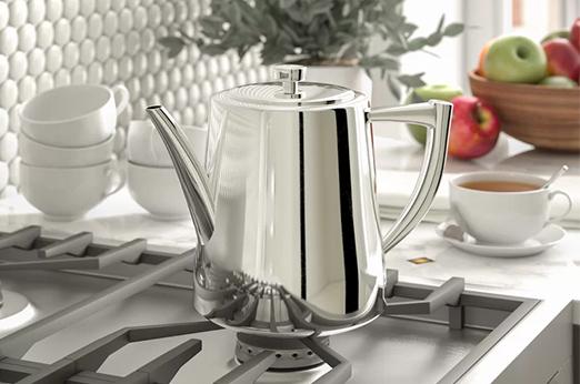 Teekanne Art Deco aus Edelstahl