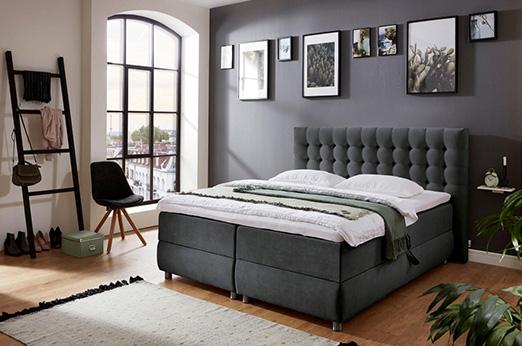 Boxspringbett, mit Bettkasten und Topper grau 182 cm x 218 cm