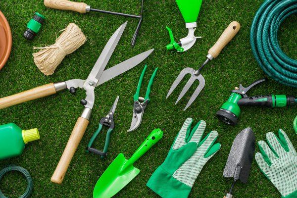 Gartenutensilien auf grünem Untergrund