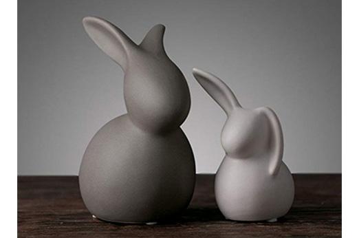 Osterhase Figur Dekoration Keramik (Grau)