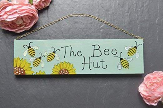 Gartenschild Bienenhaus gelb türkis