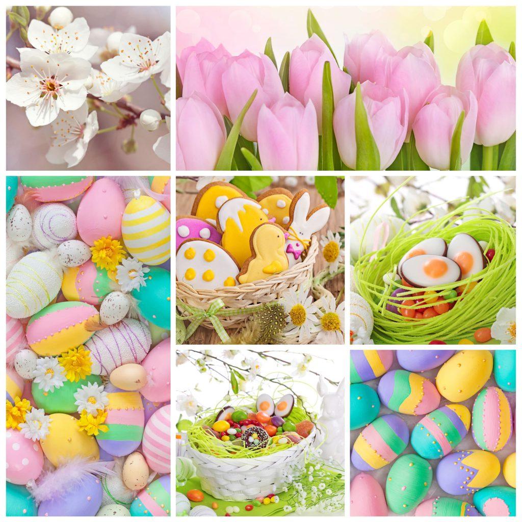 Deko und Eier in pastelligen Osterfarben