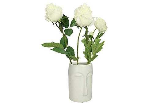 Vase Gesicht Feiner Steingut Weiß 13,5x10x14,8cm