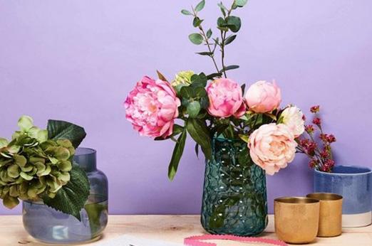 BUTLERS BEVERLY Vase Höhe 21 cm blau