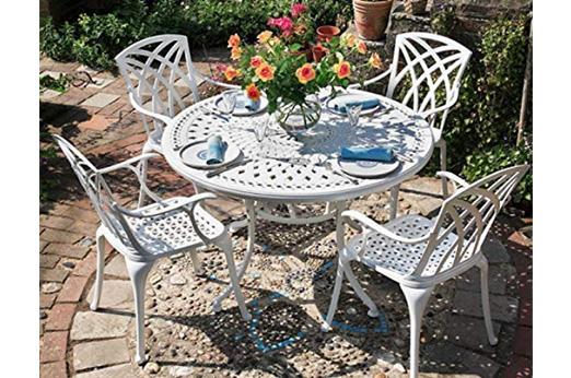 Runder Gartentisch 120 cm  mit 4 Stühlen Metall, Weiß