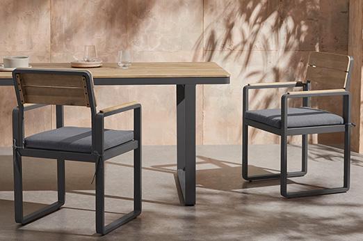 2 x Topa Gartenstühle, Akazie und Grau
