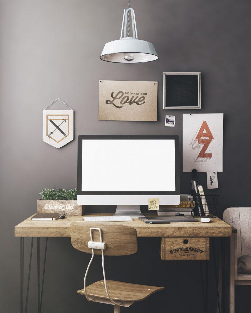 Schreibtisch im Home Office einrichten