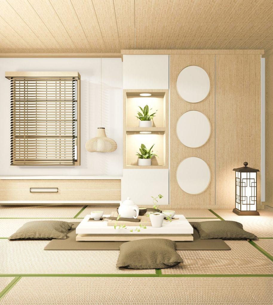Wohnzimmer im Japandi Stil