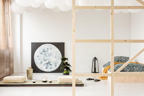 Schlafzimmer im Japandi Look