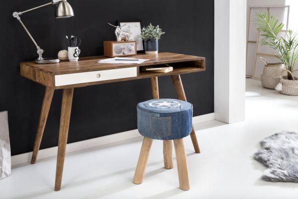Wohnling Schreibtisch REPA weiß 120 x 60 x 75 cm Massiv Holz
